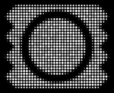 Condom package halftone vector icon. Illustration style is dotted iconic condom package symbol on a black background. Halftone structure is created from spheric pixels.