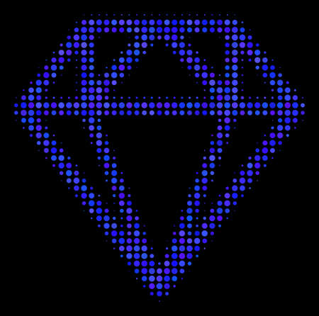Diamond halftone vector icon. Illustration style is dot iconic diamond symbol on a black background. Halftone texture is created with spheric points.