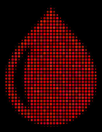 Drop halftone vector icon. Illustration style is dot iconic drop symbol on a black background. Halftone matrix is build from circle cells. Иллюстрация