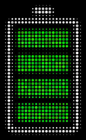 Electric battery halftone vector icon. Illustration style is dotted iconic electric battery symbol on a black background. Halftone matrix is made from circle points. Illustration