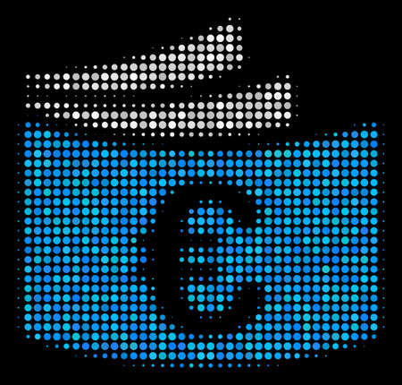 Euro check book halftone icon pixel style illustration. Illustration