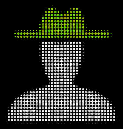 Farmer halftone vector icon. Illustration style is pixelated iconic farmer symbol on a black background.