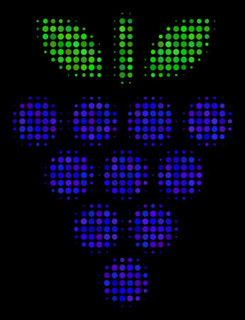 Grapes halftone vector icon. Illustration style is dotted iconic grapes symbol on a black background. Halftone matrix is build from circle cells.