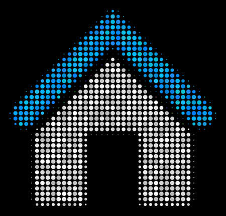 Home halftone vector icon. Illustration style is dot iconic home symbol on a black background. Halftone structure is constructed with spheric items.