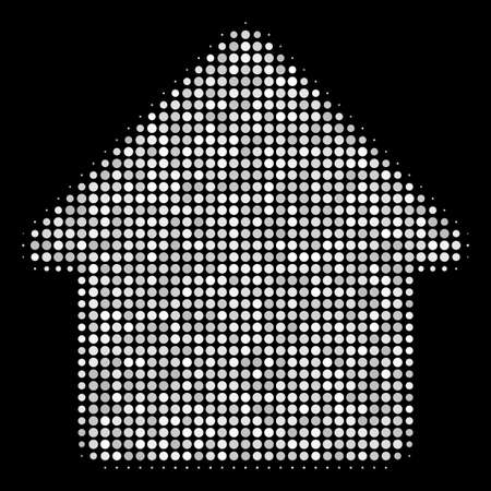 House halftone vector icon. Illustration style is pixelated iconic house symbol on a black background. Halftone matrix is made with spheric items. Ilustração