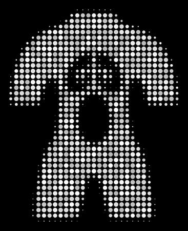 Human anatomy halftone vector icon. Illustration style is pixelated iconic human anatomy symbol on a black background. Halftone matrix is build from spheric points.