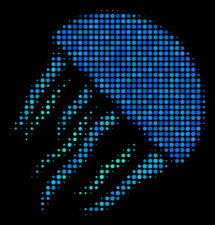 Jellyfish halftone vector icon. Illustration style is dotted iconic jellyfish symbol on a black background. Halftone structure is constructed from spheric points.
