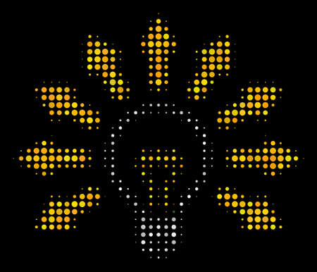 Light bulb halftone vector icon. Illustration style is dotted iconic light bulb symbol on a black background. Halftone pattern is constructed from spheric items.