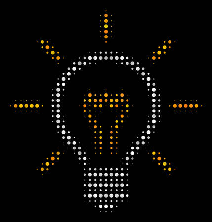 Light bulb halftone vector icon. Illustration style is dot iconic light bulb symbol on a black background. Halftone matrix is created with round points.