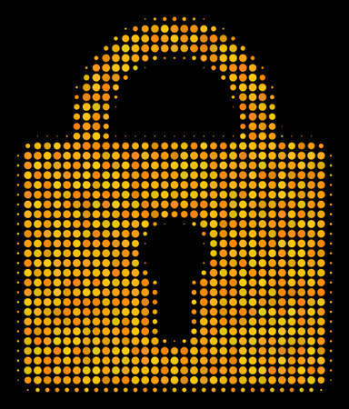 Lock halftone vector icon. Illustration style is pixel iconic lock symbol on a black background. Halftone pattern is made of spheric items. Illustration