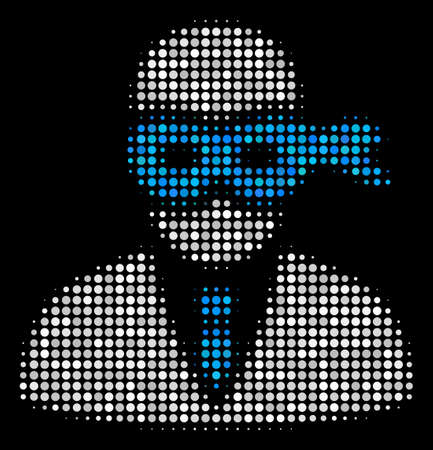 Masked thief halftone vector icon. Illustration style is dotted iconic masked thief symbol on a black background. Halftone texture is build from circle spots.