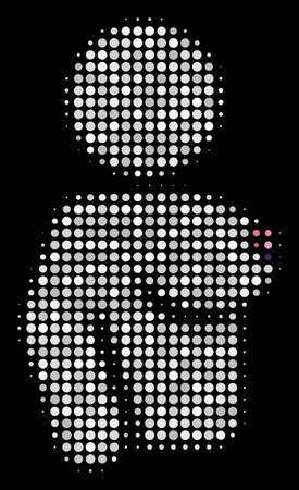 Naked woman halftone vector icon. Illustration style is pixel iconic naked woman symbol on a black background. Halftone texture is created with circle blots.