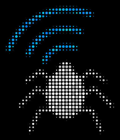 Radio bug halftone vector icon. Illustration style is dotted iconic radio bug symbol on a black background. Halftone matrix is created of circle cells.