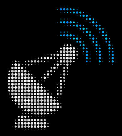 Radio transmitter halftone vector icon. Illustration style is pixel iconic radio transmitter symbol on a black background. Halftone pattern is made with spheric dots. Banque d'images - 100664604