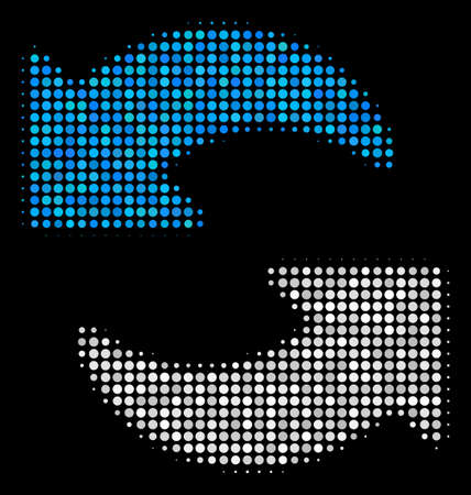 Refresh halftone vector icon. Illustration style is dotted iconic refresh symbol on a black background. Halftone pattern is constructed from spheric dots.