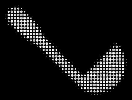 Scoop halftone vector icon. Illustration style is pixel iconic scoop symbol on a black background. Halftone structure is created with circle blots. Illustration