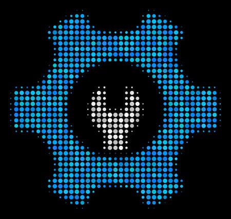 Service tools halftone vector icon. Illustration style is dotted iconic service tools symbol on a black background. Halftone matrix is made with round spots.