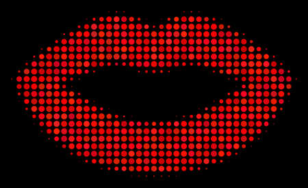 Sexy lips halftone vector icon. Illustration style is pixelated iconic lips symbol on a black background. Halftone structure is constructed with circle blots.