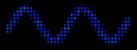 Sinusoid wave halftone vector icon. Illustration style is pixelated iconic sinusoid wave symbol on a black background. Halftone texture is constructed of round cells.