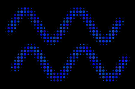 Sinusoid waves halftone vector icon. Illustration style is dot iconic sinusoid waves symbol on a black background. Halftone matrix is created of round blots.