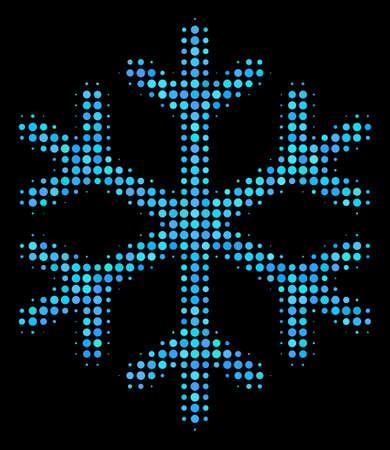 Icône de vecteur de demi-teinte de flocon de neige. Le style d'illustration est le symbole de flocon de neige emblématique de pixel sur fond noir. Le motif en demi-teinte est construit avec des cellules sphériques. Vecteurs