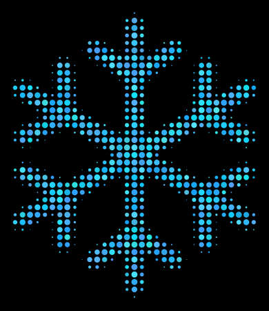 Snowflake halftone vector icon. Illustration style is pixel iconic snowflake symbol on a black background. Halftone pattern is build with spheric cells.