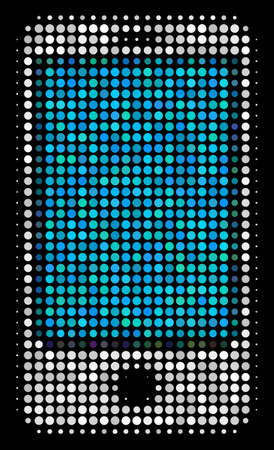 Smartphone halftone vector icon. Illustration style is pixelated iconic smartphone symbol on a black background. Halftone matrix is made with circle spots. Illustration