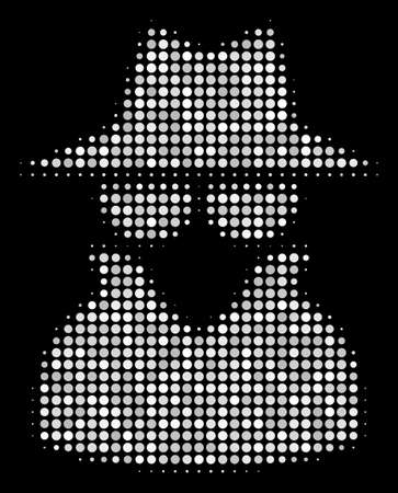 Spy halftone vector icon. Illustration style is pixelated iconic spy symbol on a black background. Halftone matrix is constructed with circle items.