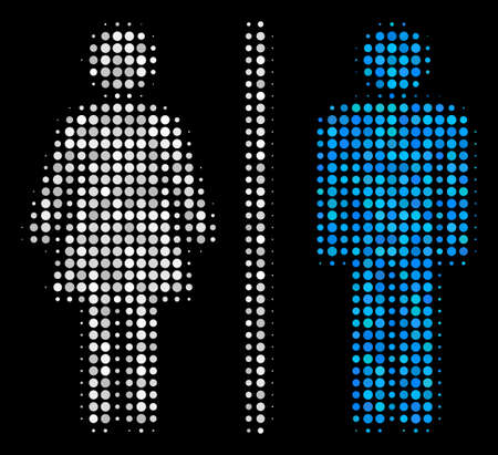 Toilet persons halftone vector icon. Illustration style is pixelated iconic toilet persons symbol on a black background. Halftone pattern is constructed with circle elements.