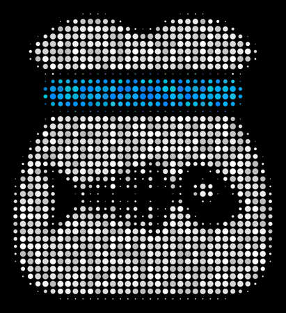 Toxic rubbish halftone vector icon. Illustration style is pixel iconic toxic rubbish symbol on a black background. Halftone texture is made of round blots. Illustration