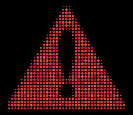 Warning halftone vector icon. Illustration style is dot iconic warning symbol on a black background. Halftone texture is constructed of round blots. Illustration