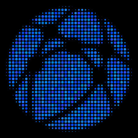 Web browser halftone vector icon. Illustration style is pixel iconic web browser symbol on a black background. Halftone matrix is constructed from circle dots.