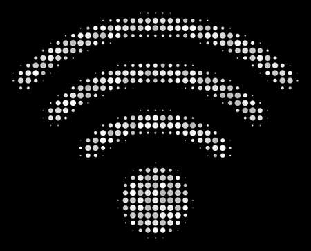 Wifi source halftone vector icon. Illustration style is pixelated iconic wifi source symbol on a black background. Halftone texture is created with spheric pixels.