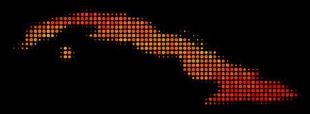 Dotted fire Cuba map. Vector territory map in fire color shades on a black background. Halftone mosaic of Cuba map designed of round spots.
