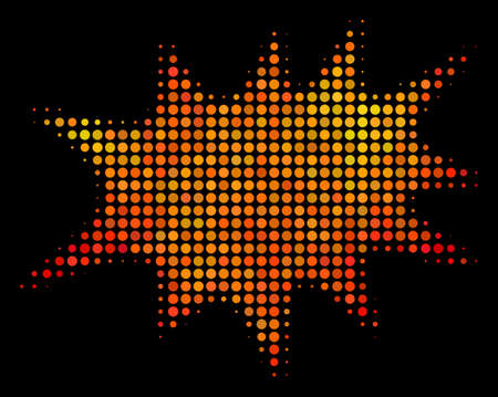 Pixelated boom bang icon. Bright pictogram in fire orange color tones on a black background. Vector halftone pattern of boom bang symbol made of circle elements.