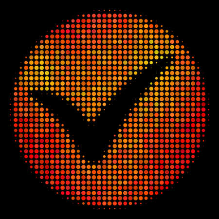 Dot apply icon. Bright pictogram in orange color shades on a black background. Vector halftone pattern of apply symbol organized of circle elements.