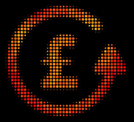 Dot chargeback pound icon. Bright pictogram in fire color tinges on a black background. Vector halftone mosaic of chargeback pound pictogram composed from circle elements.