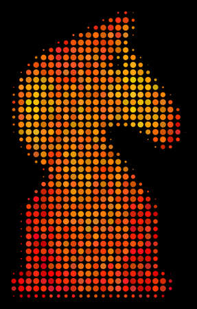 Pixel chess horse icon. Bright pictogram in hot color tinges on a black background. Vector halftone pattern of chess horse icon formed of round points.