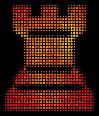 Pixel chess tower icon. Bright pictogram in fire orange color tints on a black background. Vector halftone collage of chess tower pictogram done from spheric points. Illustration