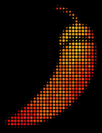 Pixelated chili pepper icon. Bright pictogram in orange color hues on a black background. Vector halftone concept of chili pepper symbol created with round elements.