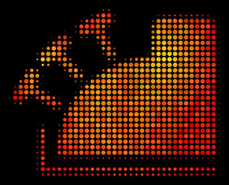 Pixel cash register icon. Bright pictogram in hot color shades on a black background. Vector halftone pattern of cash register pictogram composed with round dots. Illustration
