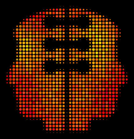 Dotted dual head interface icon. Bright pictogram in fire color variations on a black background. Vector halftone composition of dual head interface pictogram composed of circle pixels.