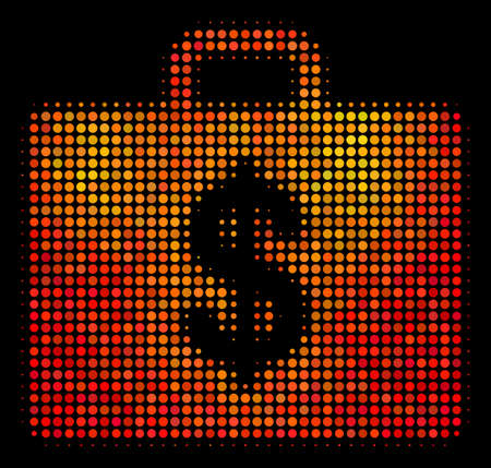 Pixelated business case icon. Bright pictogram in orange color variations on a black background. Vector halftone composition of business case symbol designed with spheric items.