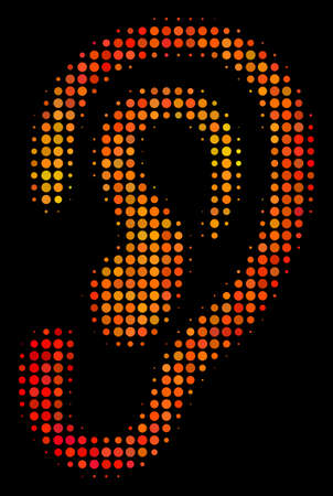 Pixel ear icon. Bright pictogram in hot color shades on a black background. Vector halftone concept of ear icon done of spheric points. 写真素材 - 100703166