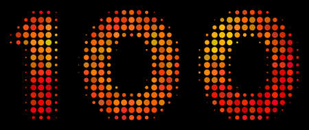 Dot 100 text icon. Bright pictogram in fire color variations on a black background. Vector halftone mosaic of 100 text icon formed with spheric elements.