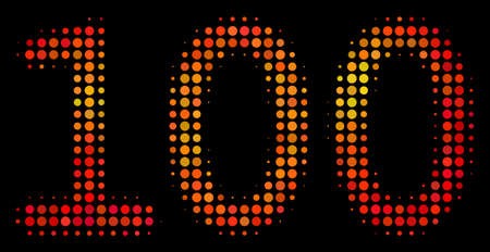 Dotted 100 text icon. Bright pictogram in fire orange color tones on a black background. Vector halftone collage of 100 text symbol made of circle items.