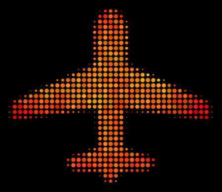 Pixelated airplane icon. Bright pictogram in fire color tones on a black background. Vector halftone composition of airplane symbol constructed of circle points.