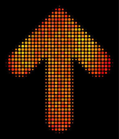 Pixel arrow up icon. Bright pictogram in orange color tinges on a black background. Vector halftone composition of arrow up pictogram made with round elements.