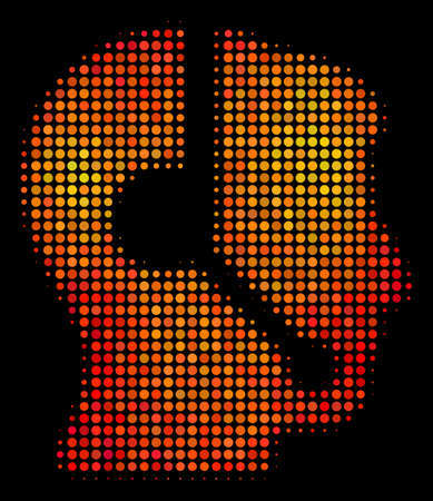 Pixel call center operator icon. Bright pictogram in orange color tinges on a black background. Vector halftone composition of call center operator icon constructed from circle points.  イラスト・ベクター素材