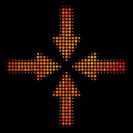 Symbol für Pixelkollisionspfeile. Helles Piktogramm in feuerorangen Farbtönen auf einem schwarzen Hintergrund. Vektorhalbtonzusammensetzung des Kollisionspfeilsymbols zusammengesetzt aus runden Punkten.